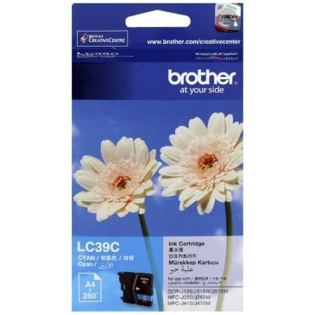 Brother Cyan ink cartridges (LC-39C) Genuine