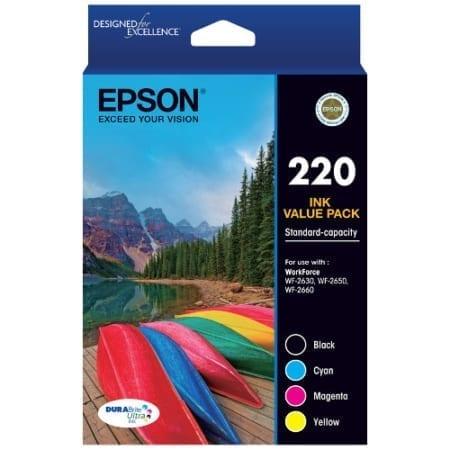 Epson value pack ink cartridges black cyan magenta yellow 220 Genuine