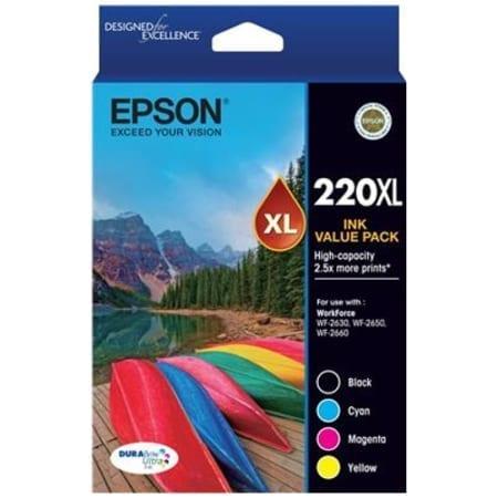 Epson value pack high yield ink cartridges black cyan magenta yellow 220XL Genuine