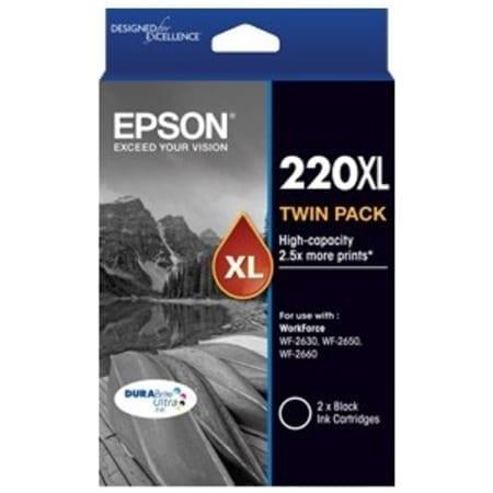 Epson high yield ink cartridges black twin pack 220XL Genuine