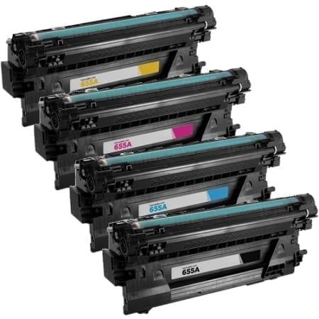 HP 655A Value Pack Laser Toner Cartridges Black Cyan Magenta Yellow Set (CF450A-CF453A) Compatible