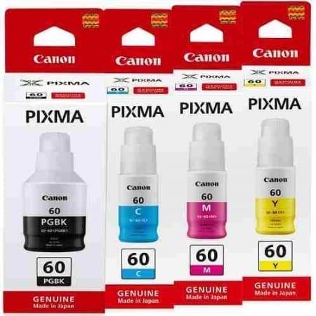 Canon Value Pack Ink Bottles Black Cyan Magenta Yellow Set (GI60) Genuine