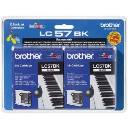 Brother black twin pack ink cartridges (lc-57bk2pk) Genuine