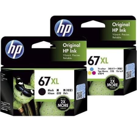 HP 67XL Black/Colour High Yield Ink Cartridges Set (3YM57AA-3YM58AA) Genuine