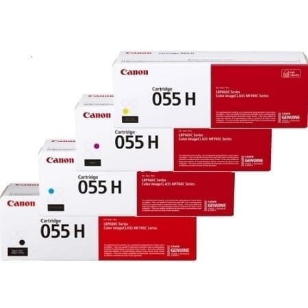 Canon Value Pack High Yield Toner Cartridges Black Cyan Magenta Yellow Set (CART055H) Genuine