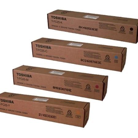 Toshiba Value Pack Toner Cartridges Black Cyan Magenta Yellow Set (T-FC25) Genuine