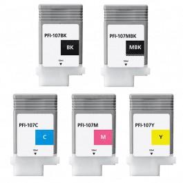 Canon Value Pack 5 Ink Cartridges Black Matte Black Cyan Magenta Yellow Set (PFI-107) Compatible