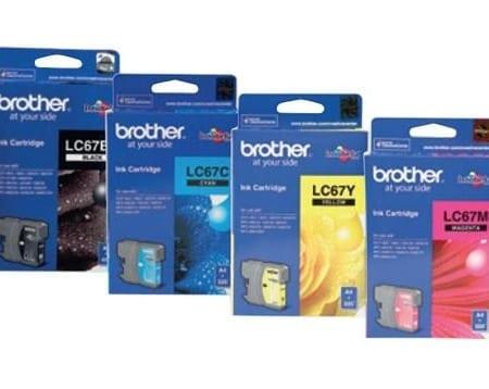 Brother Value Pack 4 Ink Cartridges Black Cyan Magenta Yellow Set (LC-67) Genuine