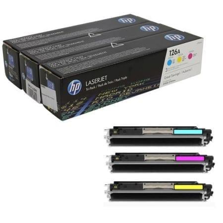 HP Tri Pack Toner Cartridges Cyan Magenta Yellow (CF314A) Genuine